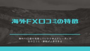 海外FX口コミの特徴
